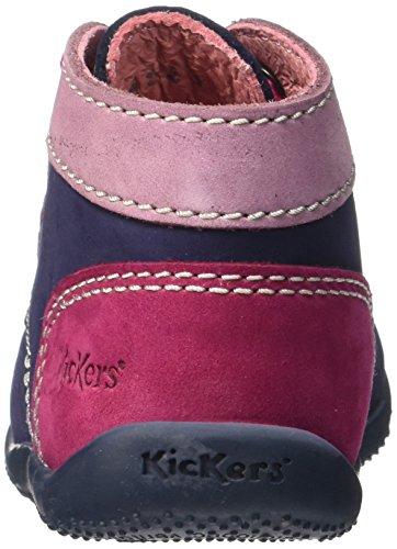 KickersBonbon - Primeros Pasos Bebé-Niños Bleu (Marine/Violet Cl/Fuchsia)