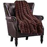 Home Soft Things Boon Super Mink Faux Fur Throw with Sherpa Backing, 60'' x 80'', Chocolate