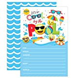 Boy Emoji Pool Party Birthday Invitations, Summer Pool Party Bash, Splash Pad, Water Park Invites, 20 Fill In Pool Party Invitations With Envelopes