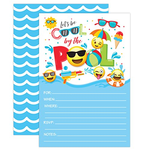 Boy Emoji Pool Party Birthday Invitations, Summer Pool Party Bash, Splash Pad, Water Park Invites, 20 Fill In Pool Party Invitations With Envelopes -