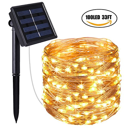 Laswumen Solar Powered String Lights, 100 LED Copper Wire Lights, 33ft 8 Modes Starry Lights, Waterproof IP65 Fairy Christams Decorative Lights for Outdoor, Wedding,Homes, Party,Halloween (Warm White) by Laswumen