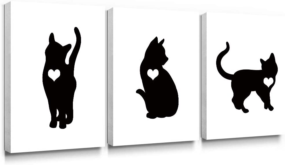 Gronda Animal Canvas Wall Art Black Cat Painting Frame Artwork Home Decor Ready to Hang for Living Room Bedroom Bathroom 12×16 Inch,3 Panels