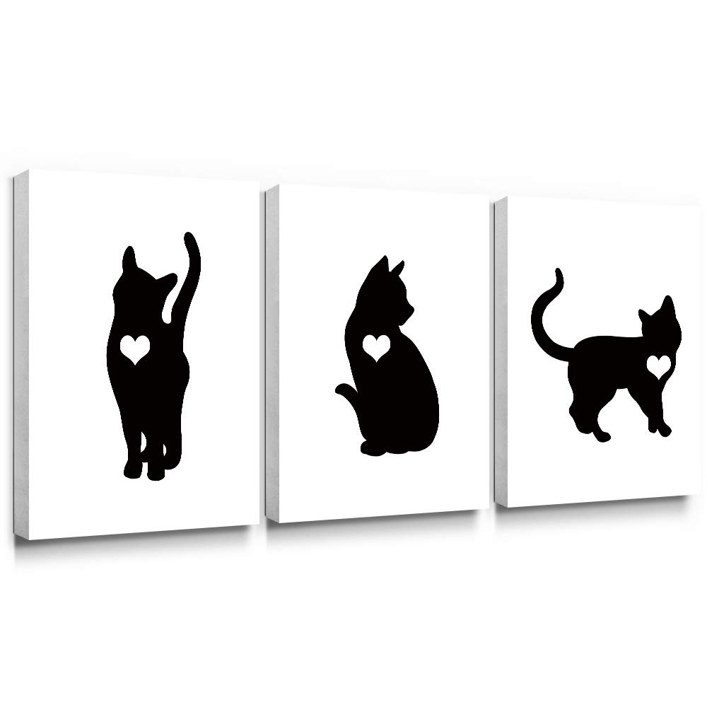30x40cmx3 Piece SUMGAR Black and White Canvas Paintings Animals Cat Love Wall Art Pet Kitty Prints for Bedroom Decor
