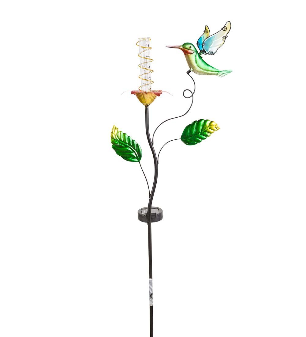 Outdoor Yard and Garden Solar Rain Gauge - 10.24 L x 4.72 W x 37.01 H - Humming Bird