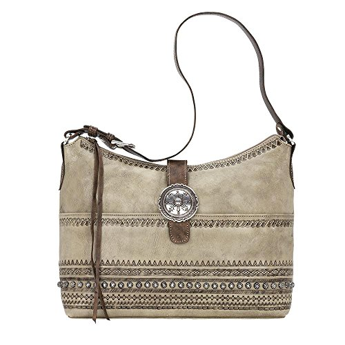 American West Women's Trading Post Large Zip Top Shoulder Bag Sand One Size by American West