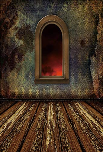 AOFOTO 4x6ft Vintage Palace Room Interior Decoration Photography Background Shabby Wallpaper and Wooden Plank Board Floor Arched Windows Red Light Outside Backdrop Vinyl Photo Booth Prop