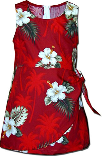 Price comparison product image Girls Sarong Hawaiian Dress Hibiscus Island Red Size 14 172-2798