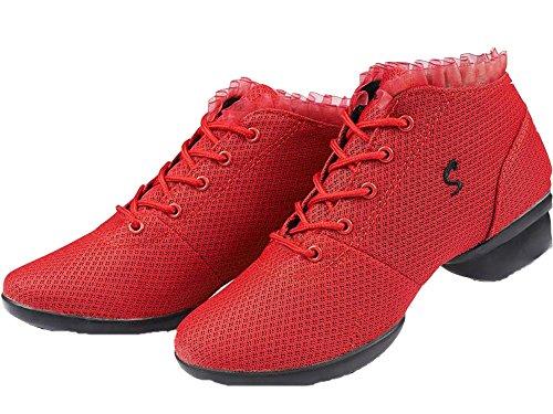 Red Trainer VECJUNIA Dance Lace Up Mesh Dance Ladies Shoes qBx1BOw48