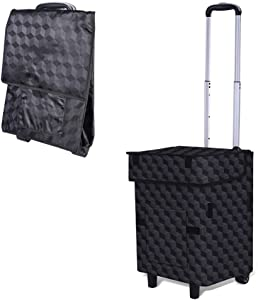 Falytemow Collapsible Utility Cart Foldable Reusable Shopping Trolley Bag with Wheels and Telescoping Handle Waterproof Oxford Fabric Folding Grocery Cart for Women or Men Travel Home Kitchen (007)