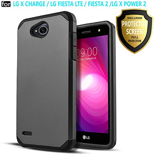 LG Fiesta 2 Phone Case, LG X Power 2 Case, LG Fiesta LTE Case, LG X Charge Case, Starshop [Shock Absorption] Impact Advanced Protective Phone Cover With [Premium HD Screen Protector] [Black]