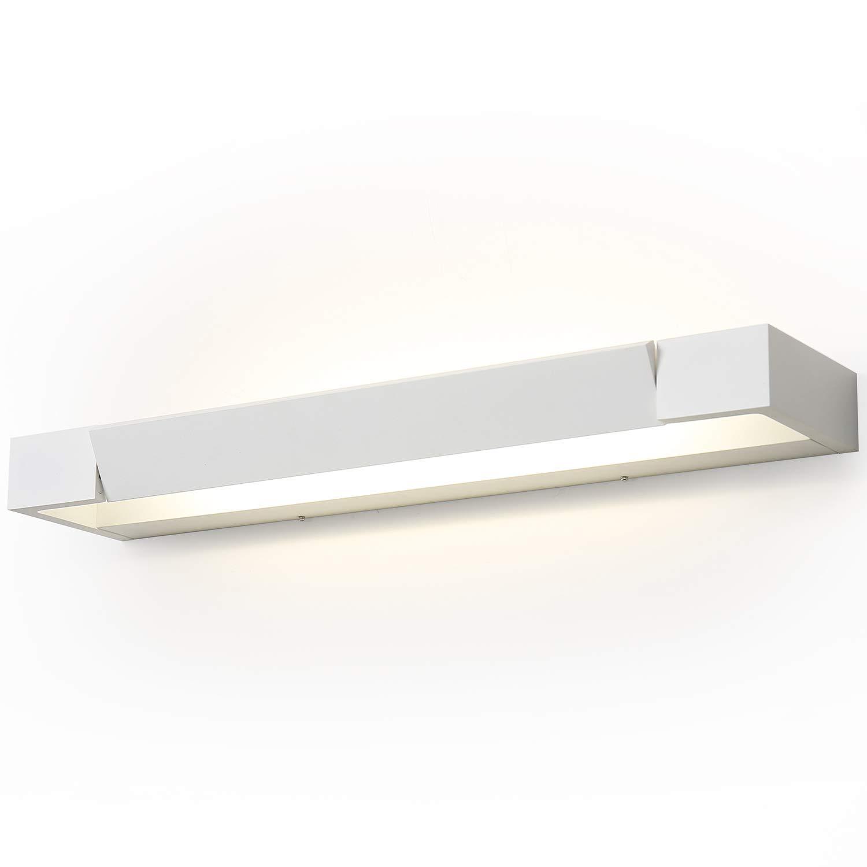 SOLFART LED Aluminum Bathroom Vanity Lighting Fixture Adjustable Vanity Wall Lights (White, L17.7 inch)