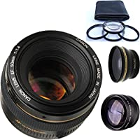 Canon 50mm 1.4 Portrait Lens + 4pc Macro Lenses Set (+1 +2 +4 +10) + High Definition Wide Angle Auxiliary Lens + High Definition Telephoto Auxiliary Lens
