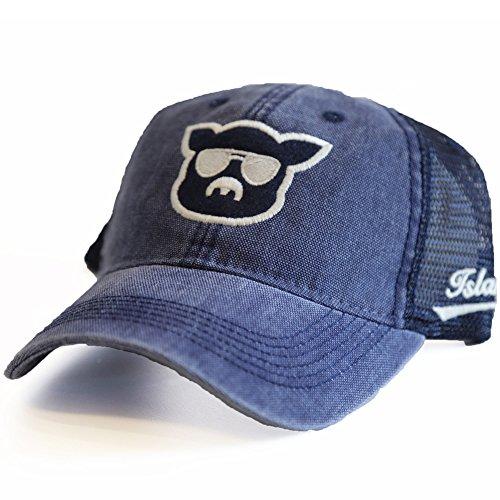 Islanders Pig Face Trucker Mesh Hat Snapback Vintage Feel, Navy/Navy, One Size