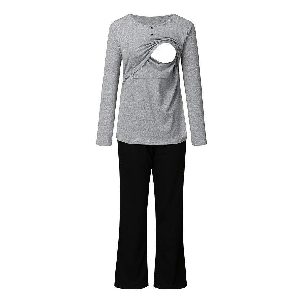 Pantalones STRIR Ropa Premam/á Lactancia Pijama 2 Piezas Conjunto Maternidad Invierno Pijama Premam/á Embarazo Camiseta Tops