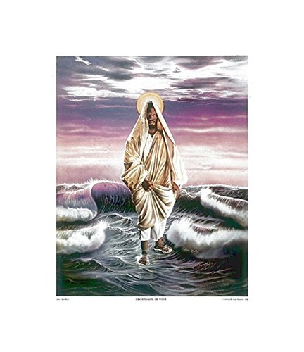 African American Jesus Christ Walking on Water by Aaron and Alan Hicks (25x21 inches - Unframed Art Print - Open Edition)