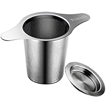 Yoassi Brew-in-mug Teapot Extra Fine Mesh Tea Strainer Infuser Steeper 18/8 Stainless Steel Strainer with Lid and 4.9 Inch Handle for Loose Leaf Grain Tea Cups, Mugs, and Pots