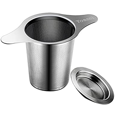 Yoassi Extra Fine FDA Approved 8/18 Stainless Steel Tea Infuser Mesh Strainer with Large Capacity & Perfect Size Double Handles for Hanging on Teapots, Mugs, Cups to steep Loose Leaf Tea and Coffee