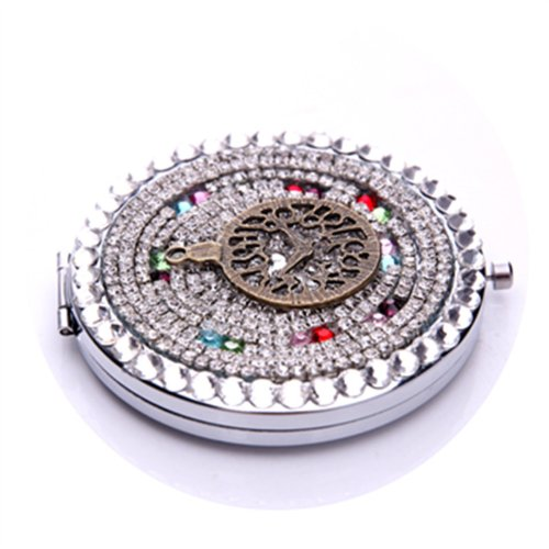 Smile Mirror Cosmetic luxury diamond round horologe magnifying makeup by SmileMirror