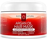Coconut Oil in Hair Overnight InstaNatural Argan Oil Hair Mask - Best Conditioner Treatment for Soft & Silky Hair - With Organic Argan Oil, Organic Jojoba Oil, Coconut Oil, Vitamin B5 & Green Tea - Provides Deep Moisture - 8 OZ