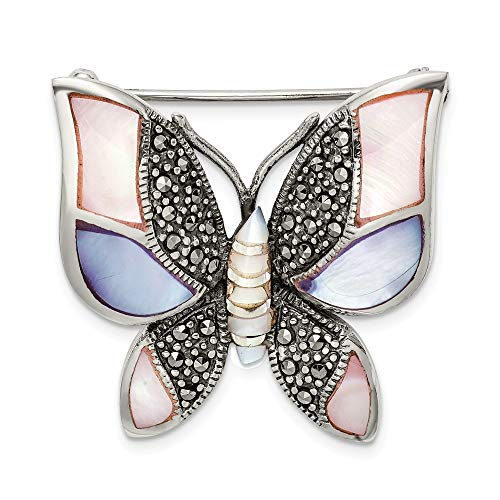 925 Sterling Silver Marcasite Mother Of Pearl Butterfly Pin Fine Jewelry Gifts For Women For Her