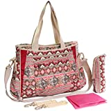 KF Baby Bohemian Diaper Bag Value Set, Crossbody strap, Stroller hooks, more