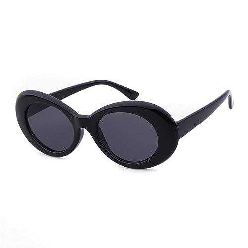 cdefc313ddb05 QIFANDI UV400 Clout Goggles Bold Retro Oval Mod Thick Frame Sunglasses  (Black Frame Black Lens)