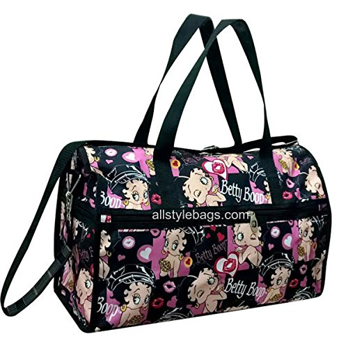 Betty Boop Black Canvas L19 Travel Dufflel Bag Sport Overnight Shoulder Pink