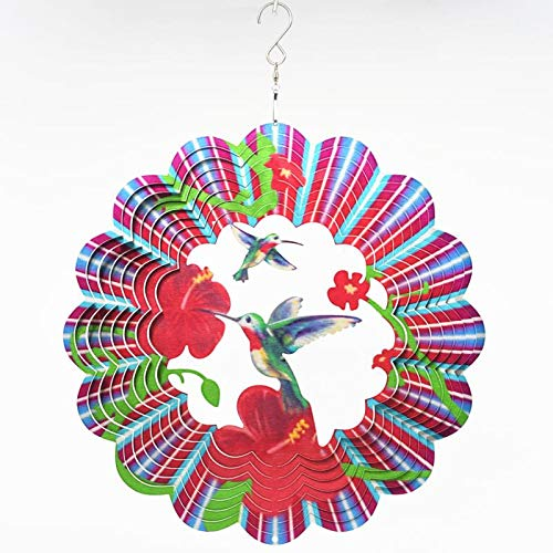 Mandala Wind Spinner Garden Ornaments Outdoor Metal 3D Twins Hummingbird Hanging Décor Stainless Steel Decoration For Indoor Wind Sculptures & Spinners Whirligig Gifts Catchers-12inch