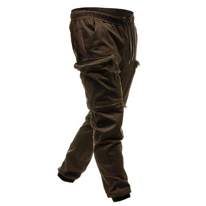 Pantalones chandals Hombre Amlaiworld Pantalones de Joggers clásicos con Cordones para Hombres Bolsillos con Cremallera Pantalones Deportivos Chándal: ...