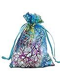 Marryme 100pcs Coralline Blue Organza Jewelry Pouch Wedding Party Favor Gift Bag 12x9cm
