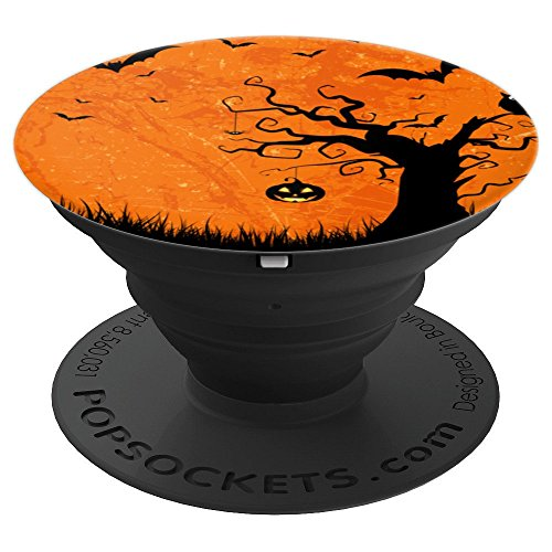 Halloween Silhouette Pop Socket Scary Pumpkin Trees & Bats - PopSockets Grip and Stand for Phones and Tablets