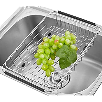 Adjustable Over The Sink Dish Drainer Dish Drying Rack, Stainless Steel  Dish Rack Functional Kitchen