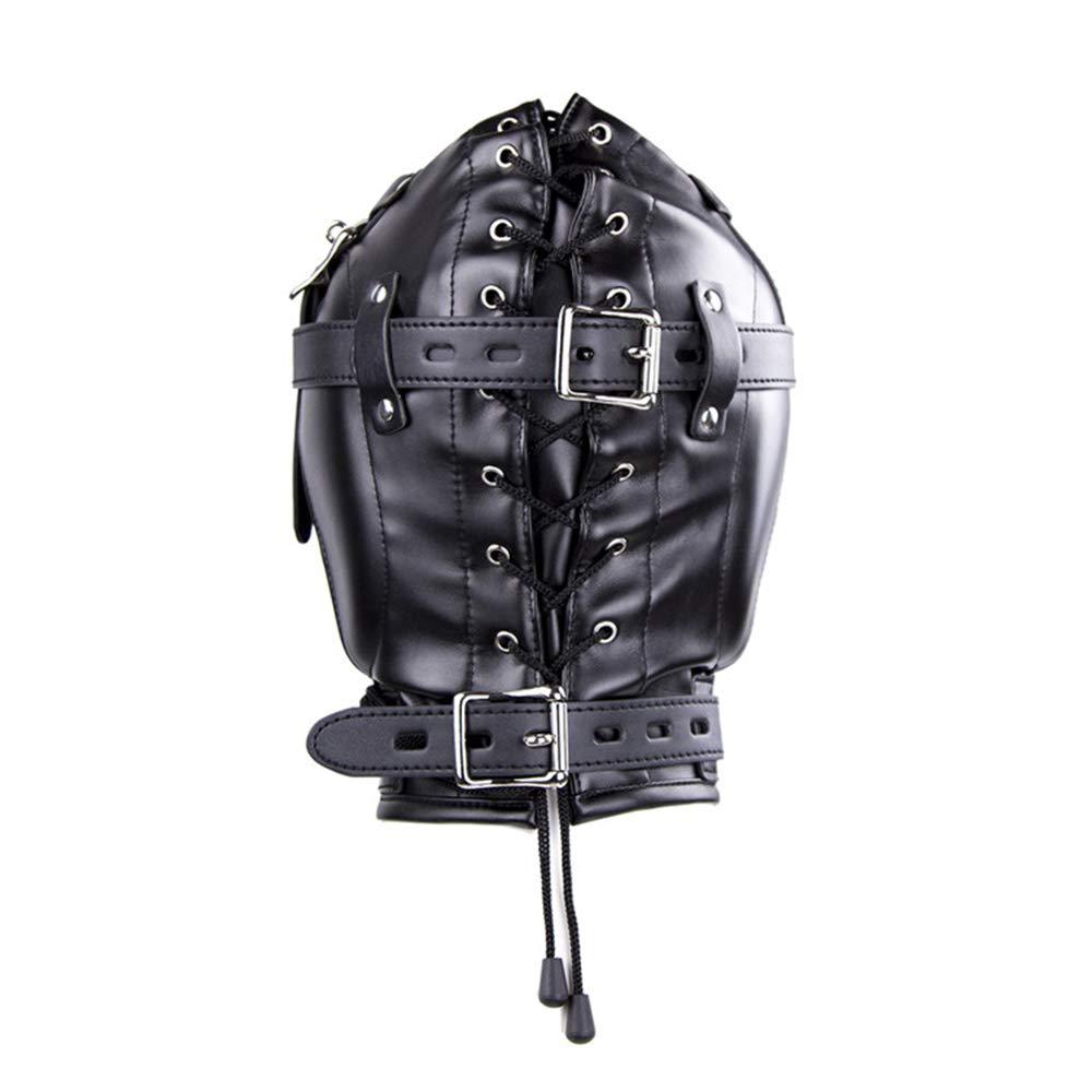 Caliente negro cuero venda cosplay Bondage capucha boca mordaza máscara cubierta BDSM fetiche esclavo restricciones máscara mordaza arnés productos para juegos ef9db0