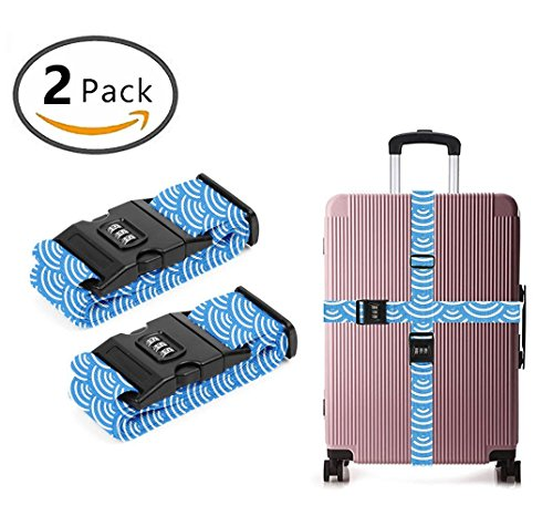 YEAHSPACE Travel Luggage Strap Japanese Mermaid Scales 2-Pack Adjustable Suitcase Packing Belt with TSA Combination Lock by YEAHSPACE
