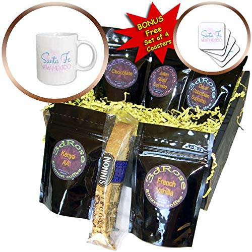 3dRose Alexis Design - American Artsy Towns - Santa Fe, New Mexico red, blue text, decorative circles in the back - Coffee Gift Baskets - Coffee Gift Basket (cgb_296394_1)