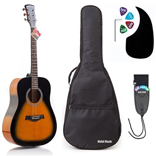 Acoustic Guitar Bundle Dreadnought Series by Hola! Music with D'Addario EXP16 Steel Strings, Padded Gig Bag, Guitar Strap and Picks, Full Size 41 Inch (Model HG-41SB), Vintage Sunburst ()