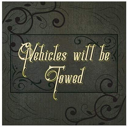Vehicles Will Be Towed 5-Pack Victorian Frame Window Cling 12x12 CGSignLab