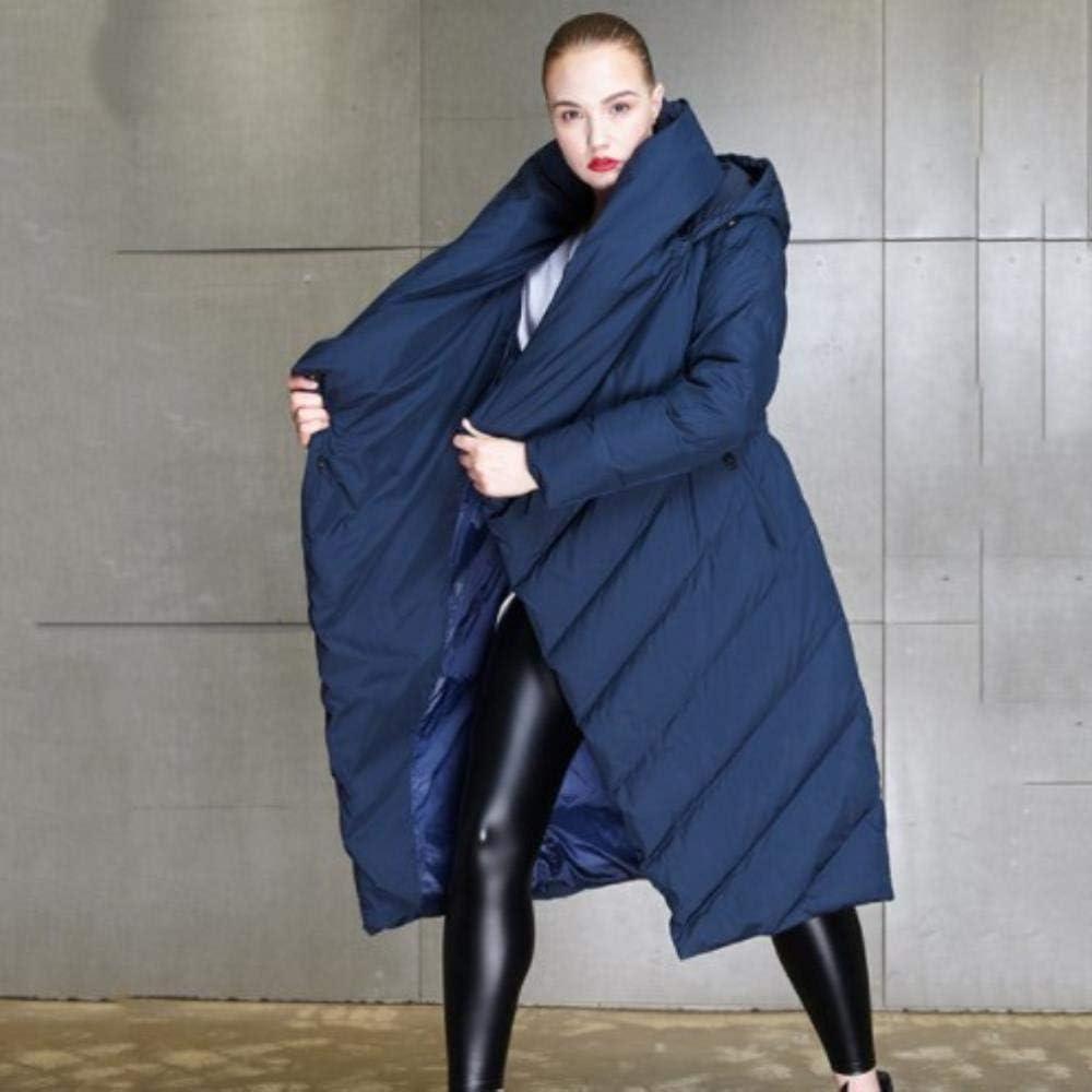 Manteau d'hiver à Capuche Long Manteau Femme Hiver Chaud Veste en Duvet épais Dark Blue