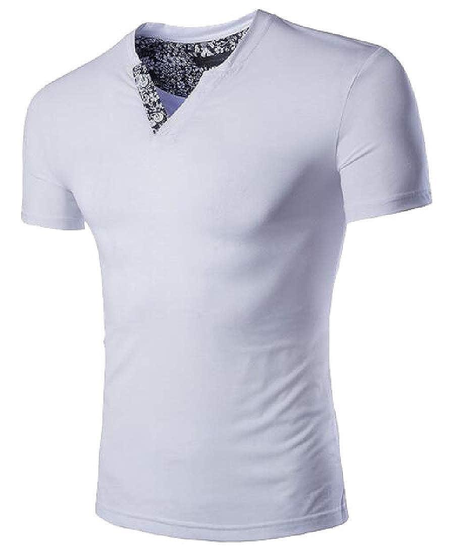 WSPLYSPJY Mens Tee Summer V Neck Short Sleeve Patchwork Slim Fit T-Shirt