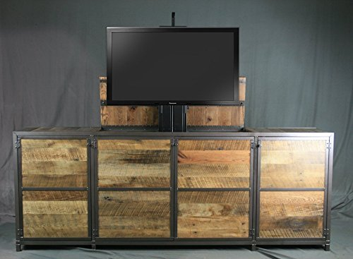 Rustic industrial tv lift cabinet. Infinity edge media console. Modern industrial credenza. Hidden compartment. Reclaimed wood - Edge Media Tv