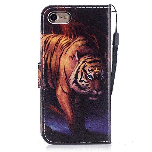 iPhone 8 Coque,Flammes de tigre Portefeuille Fermoir Magnétique Supporter Flip Téléphone Protection Housse Case Étui Pour Apple iPhone 8 + Deux cadeau