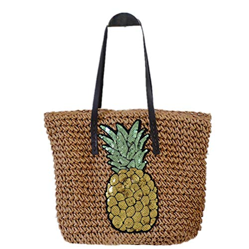 Aiello's Story Straw Weave Handbag Sequined Pineapple Beach Grass Woven Shoulder Bag Bohemian Style Travel Straw Tote Bag (Khaki)