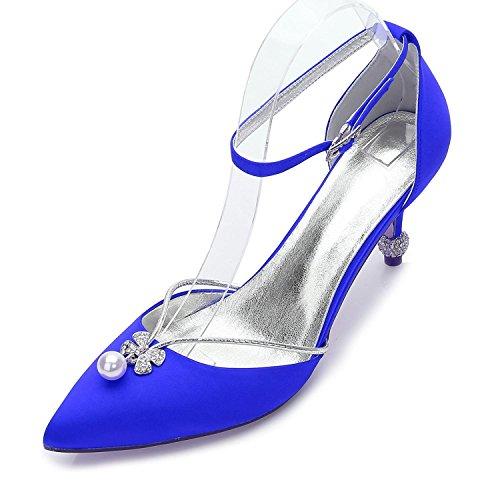 L@YC Zapatos de Mujer Primavera Verano Tacones de Caídas Puntiagudos Lentejuelas Para Bodas Oficina y Carrera Fiesta y Noche/Marfil Blue