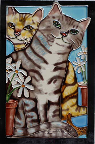 Tile Craft cat Hand Painted Ceramic Art Tile 8 x 12 inches with Felt Back and Hook