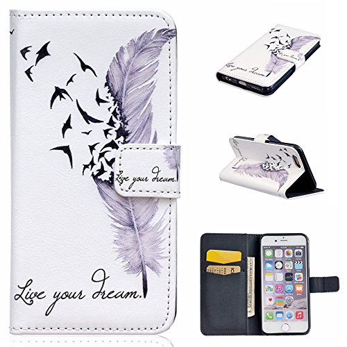 Fan Flip Bird - UNEXTATI iPhone 6 / iPhone 6s Case, Premium Wallet Case with Black Cover, Card Slot, Kickstand Function, Magnetic Closure, Impact Resistant, Apple iPhone6 / iPhone6s (P4 White)