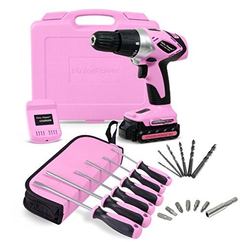 Pink Power PP181LI 18 Volt Lithium-Ion Cordless Electric Drill Kit & 6 Piece Screwdriver Set for Women
