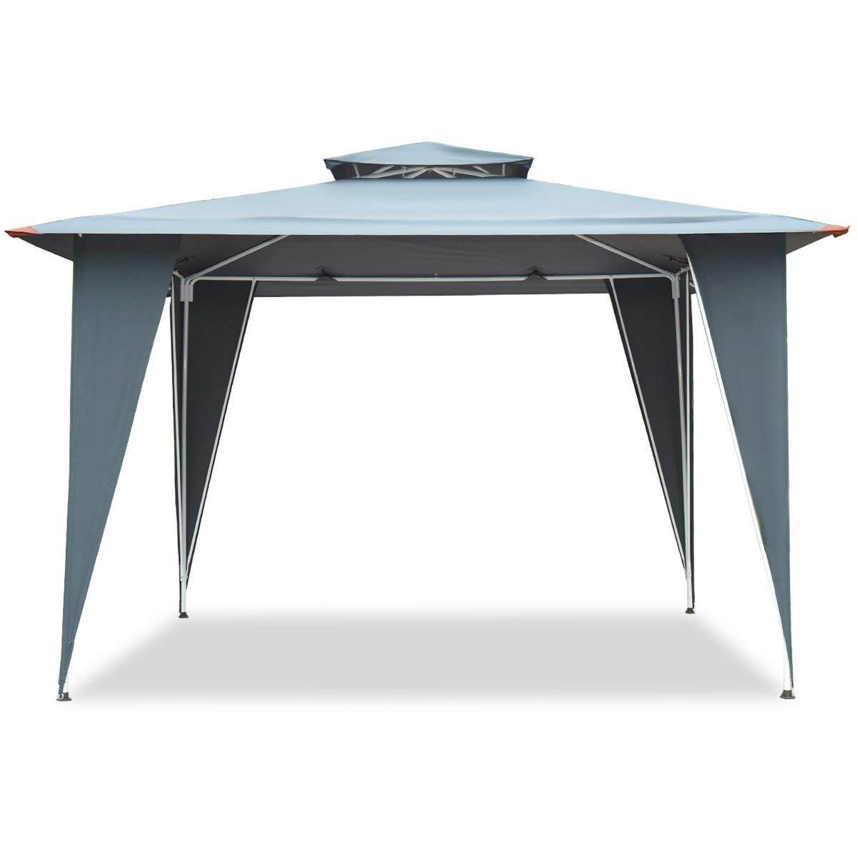 TANGKULA 2 Tier 11.5'x11.5' Gazebo Canopy Shelter Awning Tent Steel Frame Patio Garden Gray