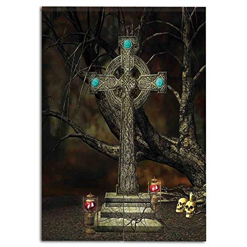 oobon Door Curtain(Two Panels) Fashion,Gothic Decor,Gothic Cross Tree Grave Skulls Tombstone Lanterns Graveyard Night Art Decorative,Personalized Customization,W27.6 xH35.4