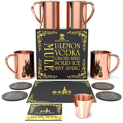 Krown Kitchen - Moscow Mule Copper Mugs Set of 4 | 100% Solid Copper | 16 oz (Mugs For Mule Moscow Sale)