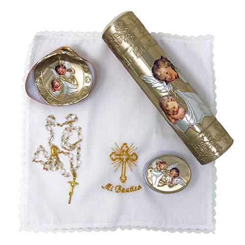 Salve Regina Hand Made Catholic Christening/Baptism Kit - Model 10, Golden ()